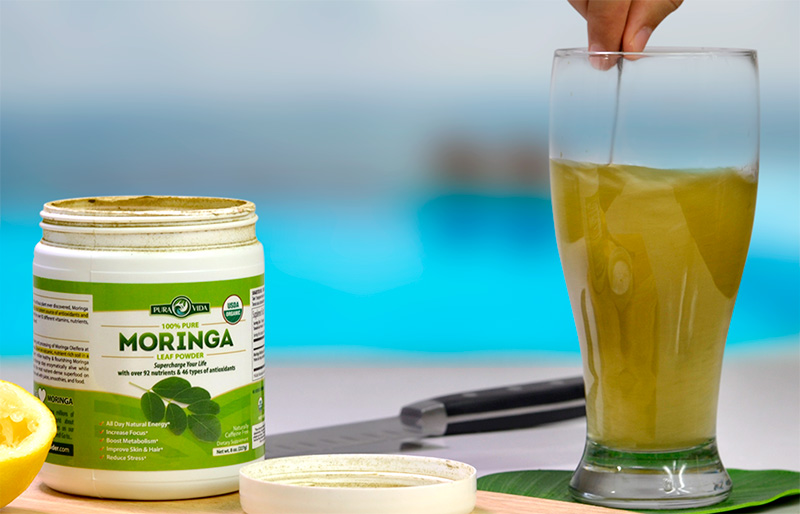 Mix 1-3 Teaspoons of pure Moringa Powder